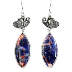 Clearance Sale- 18.98cts natural orange sodalite 925 silver couple hearts earrings d39648