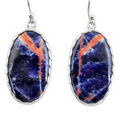 17.61cts natural orange sodalite 925 sterling silver dangle earrings r28885