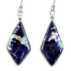 13.10cts natural orange sodalite 925 sterling silver dangle earrings r28886