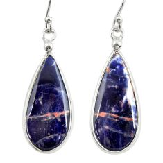 10.84cts natural orange sodalite 925 sterling silver dangle earrings r28888