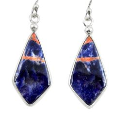 10.84cts natural orange sodalite 925 sterling silver dangle earrings r28890