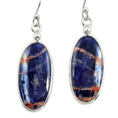 10.89cts natural orange sodalite 925 sterling silver dangle earrings r28893
