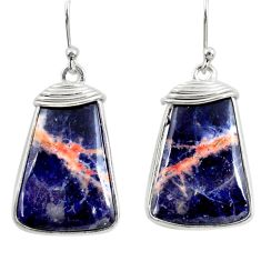 13.64cts natural orange sodalite 925 sterling silver dangle earrings r28900