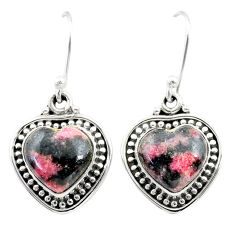 10.30cts natural orange sodalite 925 sterling silver dangle earrings t41511