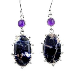 Clearance Sale- 18.73cts natural orange sodalite amethyst 925 silver dangle earrings d39715