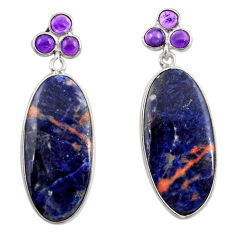 Clearance Sale- 16.86cts natural orange sodalite amethyst 925 silver dangle earrings d39719