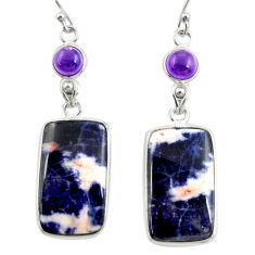 18.14cts natural orange sodalite amethyst 925 silver dangle earrings r28881