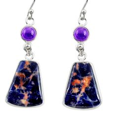 13.61cts natural orange sodalite amethyst 925 silver dangle earrings r28882