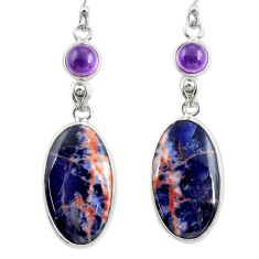 14.76cts natural orange sodalite amethyst 925 silver dangle earrings r28883