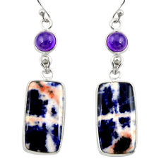 16.49cts natural orange sodalite amethyst 925 silver dangle earrings r28892