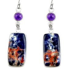 18.14cts natural orange sodalite amethyst 925 silver dangle earrings r28897