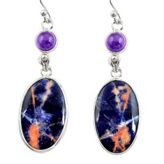 13.69cts natural orange sodalite amethyst 925 silver dangle earrings r28898