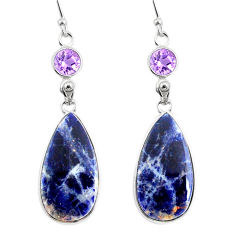 18.39cts natural orange sodalite amethyst 925 silver dangle earrings r75602