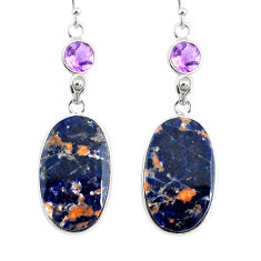 19.76cts natural orange sodalite amethyst 925 silver dangle earrings r75603