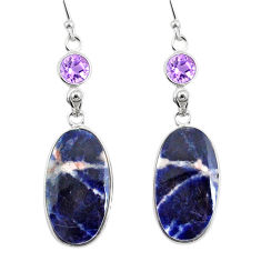 20.40cts natural orange sodalite amethyst 925 silver dangle earrings r75606