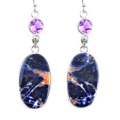 16.71cts natural orange sodalite amethyst 925 silver dangle earrings r75641