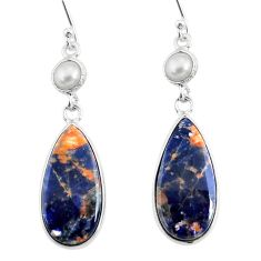 13.63cts natural orange sodalite pearl 925 silver dangle earrings r75609