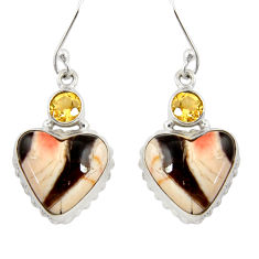 19.72cts natural peanut petrified wood fossil 925 silver heart earrings d39559