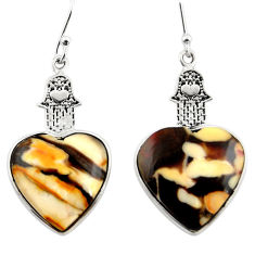 Natural peanut petrified wood fossil silver hand of god heart earrings r46951