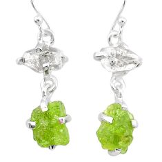 11.08cts natural peridot rough herkimer diamond 925 silver earrings t25663