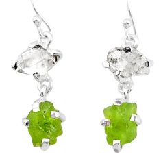 11.08cts natural peridot rough herkimer diamond 925 silver earrings t25669
