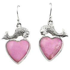 23.30cts natural phosphosiderite (hope stone) 925 silver fish earrings r45290