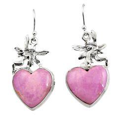 Natural phosphosiderite hope stone 925 silver angel wings fairy earrings r45292