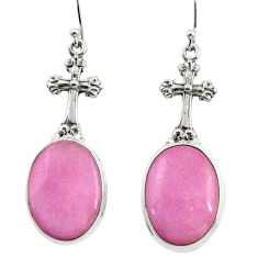 21.43cts natural phosphosiderite hope stone 925 silver cross earrings r45295