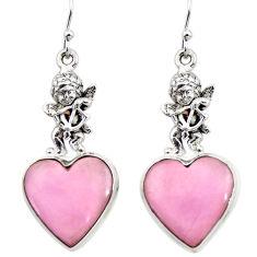 Natural phosphosiderite hope stone 925 silver cupid angel wings earrings r45289