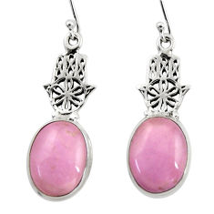 Natural phosphosiderite hope stone 925 silver hand of god hamsa earrings r45294