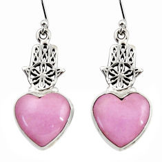 Natural phosphosiderite hope stone 925 silver hand of god hamsa earrings r45298