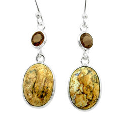 8.97cts natural picture jasper smoky topaz 925 silver dangle earrings t56037