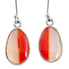 14.23cts natural pink botswana agate 925 sterling silver dangle earrings r73031