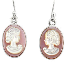 8.00cts natural pink cameo on shell 925 silver lady face earrings r80420