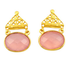 21.41cts natural pink chalcedony 925 silver 14k gold dangle earrings r32926