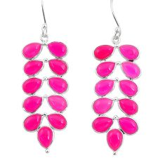 22.08cts natural pink chalcedony 925 sterling silver chandelier earrings d39787