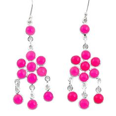 13.71cts natural pink chalcedony 925 sterling silver chandelier earrings d39795