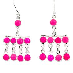 10.03cts natural pink chalcedony 925 sterling silver chandelier earrings d39798