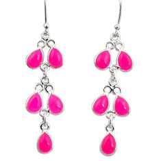 Clearance Sale- 13.69cts natural pink chalcedony 925 sterling silver chandelier earrings d39810