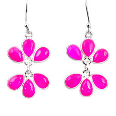 13.10cts natural pink chalcedony 925 sterling silver chandelier earrings d39887