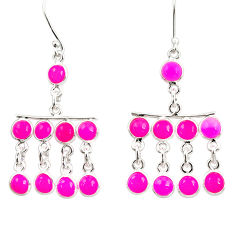 16.20cts natural pink chalcedony 925 sterling silver chandelier earrings d39891