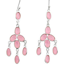 11.66cts natural pink chalcedony 925 sterling silver dangle earrings r33162