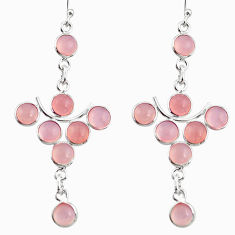 12.66cts natural pink chalcedony 925 sterling silver dangle earrings r33561