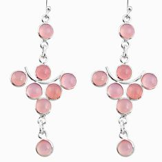 12.66cts natural pink chalcedony 925 sterling silver dangle earrings r33562