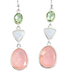 20.77cts natural pink chalcedony moonstone 925 silver dangle earrings r26005