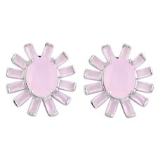 13.28cts natural pink chalcedony topaz 925 sterling silver earrings c20185
