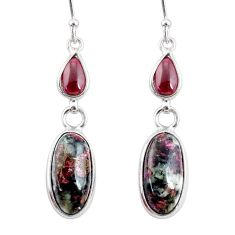 10.89cts natural pink eudialyte red garnet 925 silver dangle earrings r68267