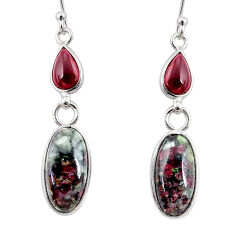10.89cts natural pink eudialyte red garnet 925 silver dangle earrings r68268