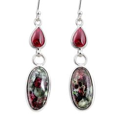 11.28cts natural pink eudialyte red garnet 925 silver dangle earrings r68271