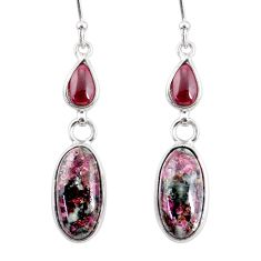 10.89cts natural pink eudialyte red garnet 925 silver dangle earrings r68272